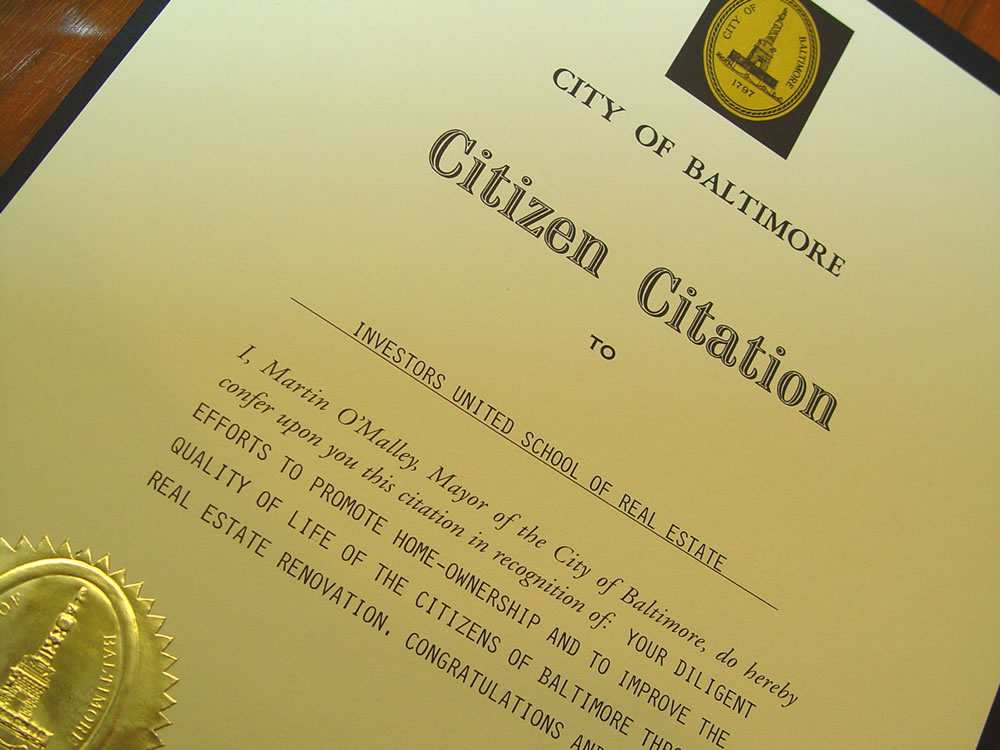 MAYOR RECOGNIZES IAN'S WORK FOR BALTIMORE CITY